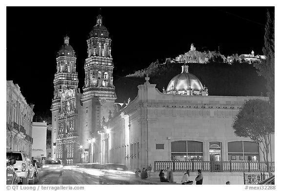 Gonzalez Ortega Market, Cerro de la Bufa, and Cathedral at night. Zacatecas, Mexico (black and white)