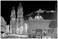 Gonzalez Ortega Market, Cerro de la Bufa, and Cathedral at night. Zacatecas, Mexico ( black and white)