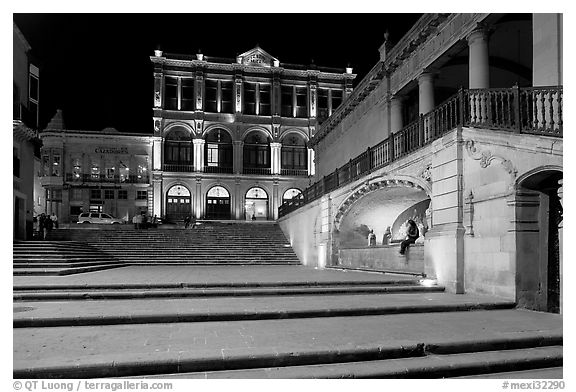 Goitia Square and Teatro Calderon at night. Zacatecas, Mexico (black and white)