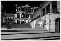 Goitia Square and Teatro Calderon at night. Zacatecas, Mexico ( black and white)