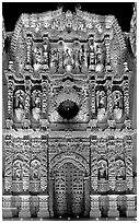 Illuminated churrigueresque carvings on the facade of the Cathdedral. Zacatecas, Mexico ( black and white)