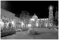 Square of Arms at night. Zacatecas, Mexico (black and white)