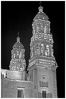 Churrigueresque towers of the Cathedral by night. Zacatecas, Mexico ( black and white)