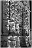Churrigueresque columns on the facade of the Cathdedral. Zacatecas, Mexico ( black and white)