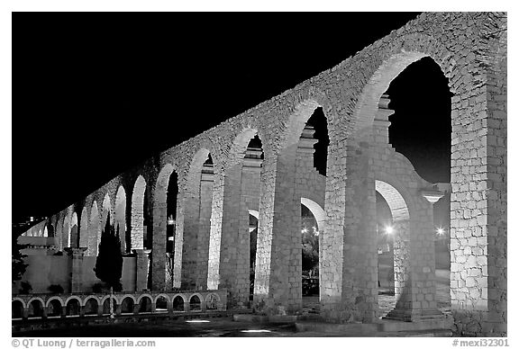 Aqueduct by night. Zacatecas, Mexico (black and white)