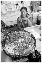 Woman and plater with typical vegetables. Guanajuato, Mexico (black and white)