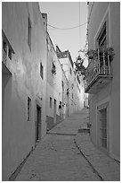 Steep callejone at dusk. Guanajuato, Mexico (black and white)
