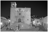 Plaza and church San Roque at night. Guanajuato, Mexico (black and white)