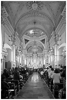Evening mass in the Basilica de Nuestra Senora Guanajuato. Guanajuato, Mexico (black and white)