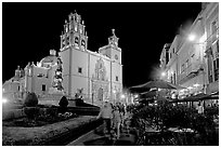 Plaza de la Paz and Basilica de Nuestra Senora de Guanajuato by night. Guanajuato, Mexico (black and white)