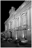 Palacio Legislativo de la Paz at night. Guanajuato, Mexico (black and white)