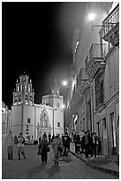 Plaza de la Paz and Basilica de Nuestra Senora de Guanajuato at night. Guanajuato, Mexico (black and white)