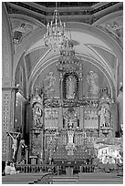 Decorated church altar. Guanajuato, Mexico (black and white)