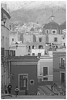 Templo de San Roque, streets, and hillside, early morning. Guanajuato, Mexico (black and white)