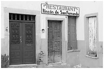 Closed doors of restaurant  Plazuela San Fernando. Guanajuato, Mexico ( black and white)