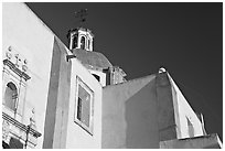 Walls and dome of San Roque church, early morning. Guanajuato, Mexico (black and white)