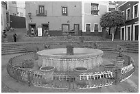 Fountain on Plazuela de los Angeles. Guanajuato, Mexico (black and white)