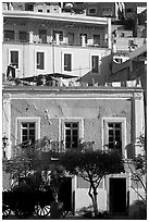 Houses bordering Plazuela San Fernando. Guanajuato, Mexico (black and white)