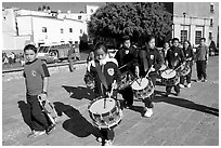 Schoolchildren in a marching band. Guanajuato, Mexico (black and white)