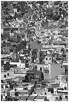 View of the city center with churches and roofs, mid-day. Guanajuato, Mexico (black and white)