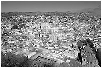 Historic city center with Church of San Diego, Basilic and  University. Guanajuato, Mexico ( black and white)