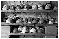 Hard hats used for descending into La Valenciana mine. Guanajuato, Mexico (black and white)
