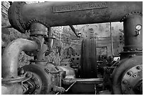Industrial machinery, Valenciana mine. Guanajuato, Mexico (black and white)