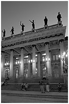 Teatro Juarez at dusk. Guanajuato, Mexico (black and white)