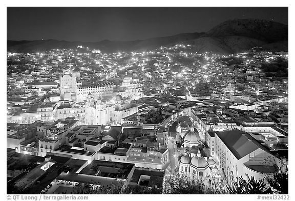 Historic town at night with illuminated monuments. Guanajuato, Mexico (black and white)