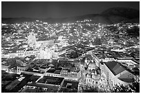 Historic town at night with illuminated monuments. Guanajuato, Mexico ( black and white)