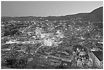 Panoramic view of the historic town at dawn. Guanajuato, Mexico (black and white)