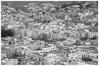 Historic town seen from above at dawn. Guanajuato, Mexico ( black and white)