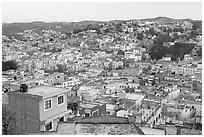 Panoramic view of the town at dawn. Guanajuato, Mexico (black and white)