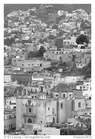 Church San Roque, and houses at dawn. Guanajuato, Mexico (black and white)