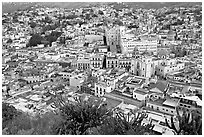 Panoramic view of the town center at dawn. Guanajuato, Mexico (black and white)