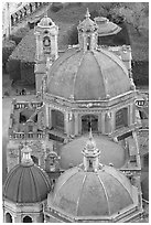 Roofs and domes of Church of San Diego seen from above. Guanajuato, Mexico (black and white)