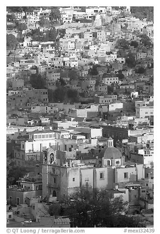 Church San Roque, and houses, early morning. Guanajuato, Mexico (black and white)