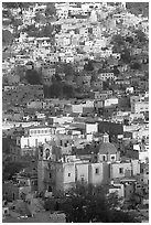 Church San Roque, and houses, early morning. Guanajuato, Mexico ( black and white)