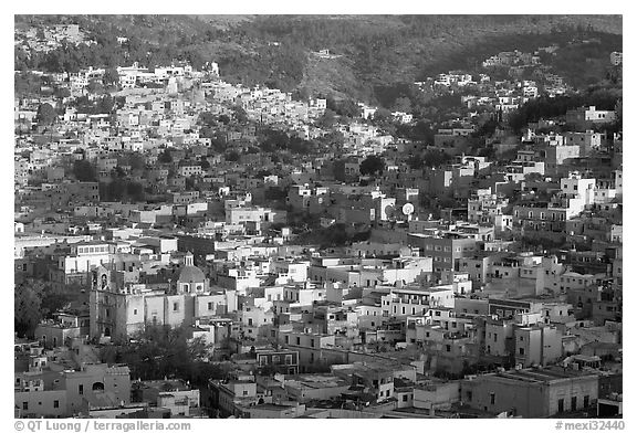 Church San Roque, and hills, early morning. Guanajuato, Mexico (black and white)