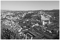 Panoramic view of the historic town center, early morning. Guanajuato, Mexico ( black and white)