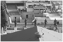 Roof of Teatro Juarez with statues. Guanajuato, Mexico (black and white)