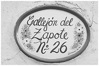 Street number sign. Guanajuato, Mexico ( black and white)