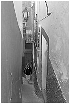 Looking down Callejon del Beso, the narrowest of the alleyways. Guanajuato, Mexico ( black and white)