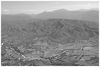 Aerial view of plain, foothills and Sierra de Madre. Mexico ( black and white)