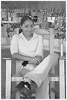 Woman in a fruit stand. Mexico (black and white)