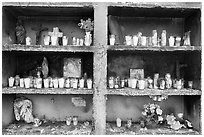 Candles in a roadside chapel. Mexico (black and white)