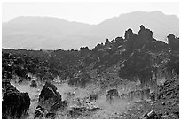 Hardened lava and hills. Mexico ( black and white)