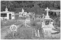 Cemetery with tombs of all shapes and sizes. Mexico (black and white)
