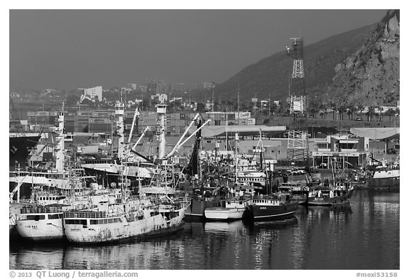 Fishing fleet, Ensenada. Baja California, Mexico (black and white)