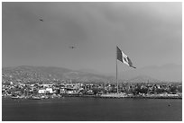 Ensenada seen from harbor. Baja California, Mexico (black and white)